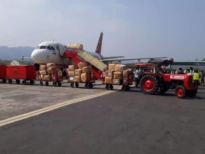 Lifeline Udan flight being loaded with essential supplies